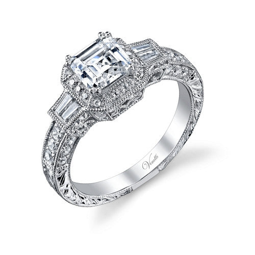 14K W RING 46RD 0.40CT, 4BG 0.18CT