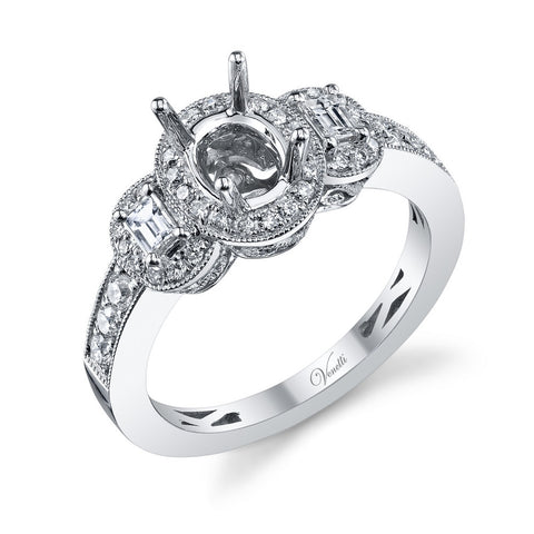 14K W RING 40RD 0.40CT, 2BG 0.20CT