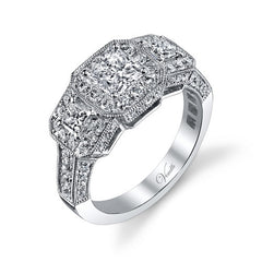 14K W RING 76RD 0.93CT, 2PC 0.30CT