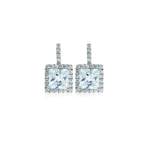 7mm Princess Halo Earrings set in Sterling Silver