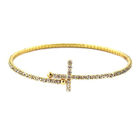 2mm Gold Clear Crystals Cross Bangle Bracelet