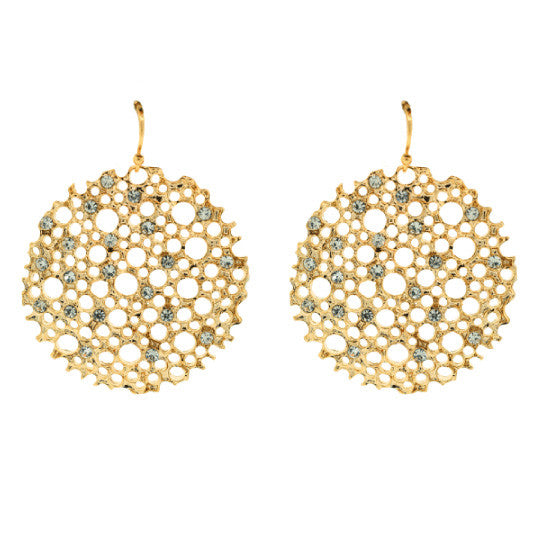 14K Gold Plated Lace Cake Rhinestone Earrings