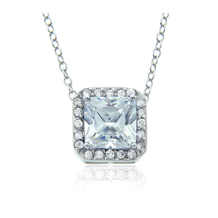 7mm Princess Halo Pendant set in Sterling Silver