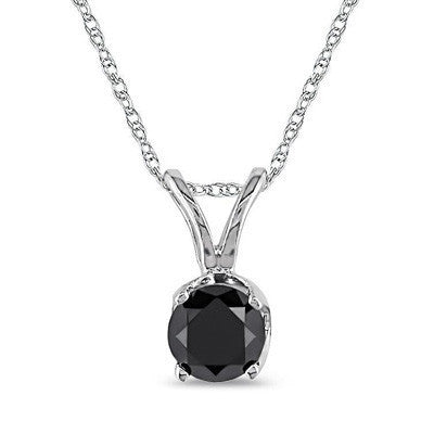 1.00ct; One Carat Black Diamond Studs Single Stone Pendant in Sterling Silver (.90-1.10ct total weight)