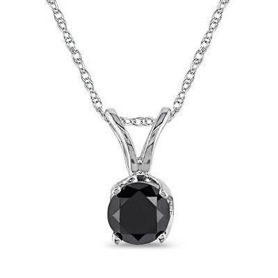 1/2ct; Half Carat Black Diamond Single Stone Pendant in Sterling Silver (.45-.55ct total weight)