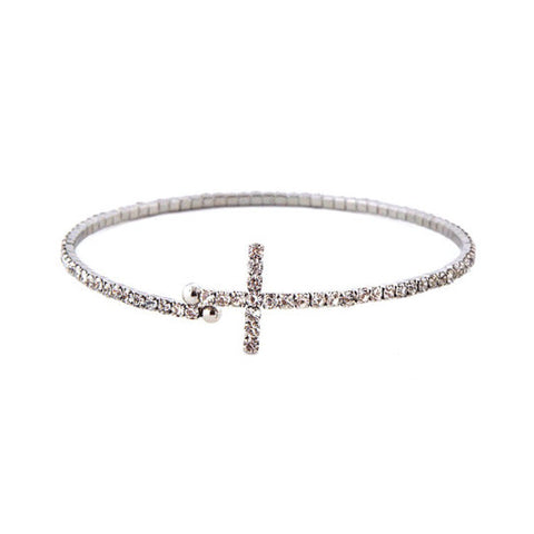 2mm Silver Clear Crystals Cross Bangle Bracelet