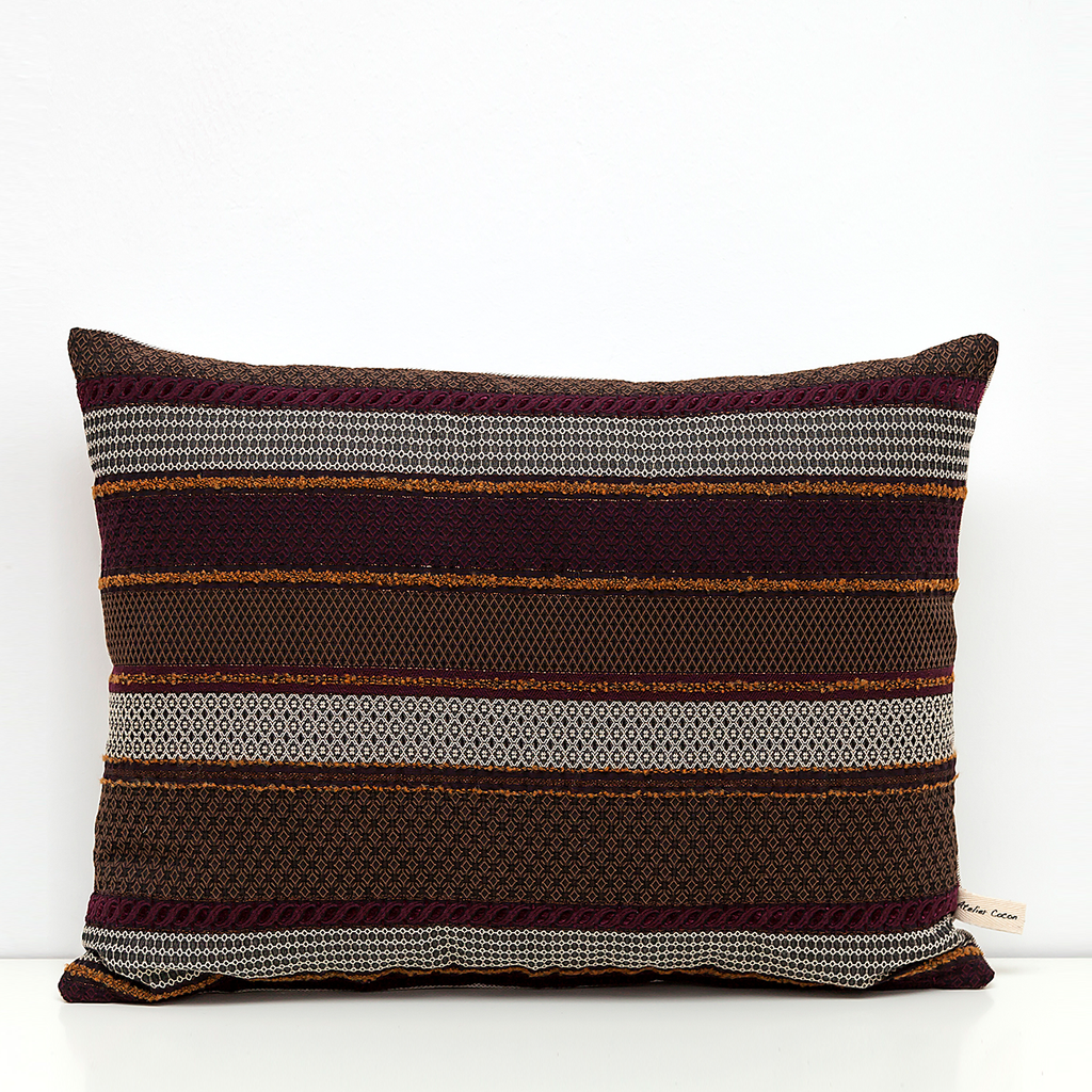 Brown and Burgundy Moroccan Cushion - Ateliercocon