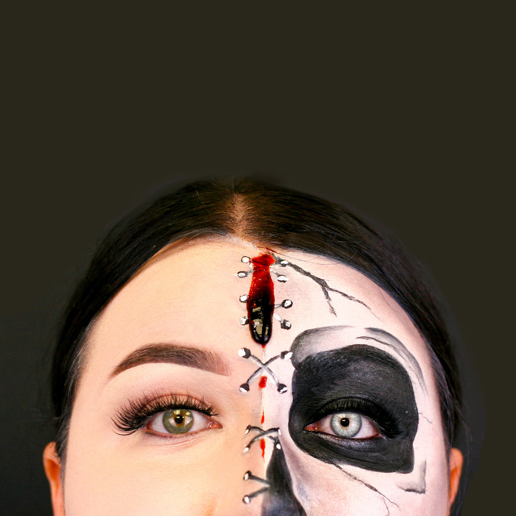Tutorial: Half Skeleton Halloween Makeup Look