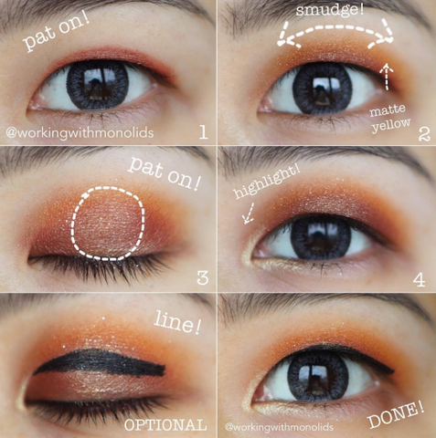 step by step floating eyeliner trick for monolid eyes