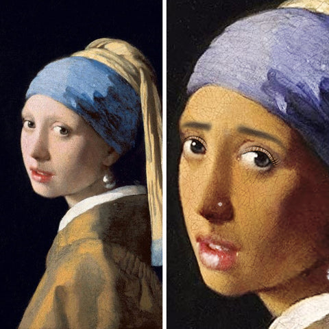 Girl with a Pearl Earring (before and after)