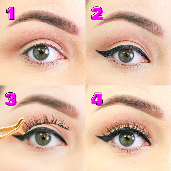 step by step magnetic and liner lashes