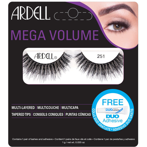 Ardell Mega Volume 251 Lashes Black (with DUO Glue)