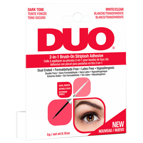 DUO 2-in-1 Brush-on Strip Lash Adhesive White/Clear + Dark Tone (5g) Angled