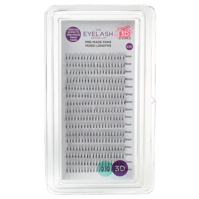 Eyelash Emporium 3D C Curls Pre-Made Fans 0.10 Mixed Lengths (9mm, 10mm, 11mm, 12mm)