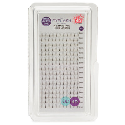 Eyelash Emporium 4D C Curls Pre-Made Fans 0.07 Mixed Lengths (9mm, 10mm, 11mm, 12mm)