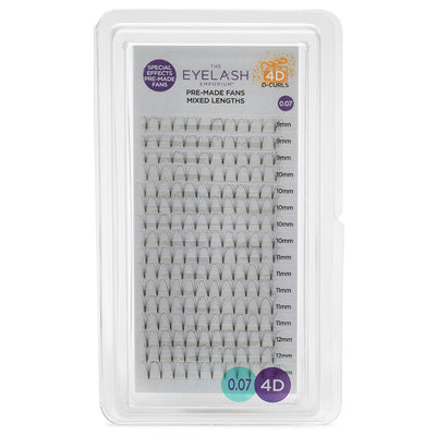 Eyelash Emporium 4D D Curls Pre-Made Fans 0.07 Mixed Lengths (9mm, 10mm, 11mm, 12mm)