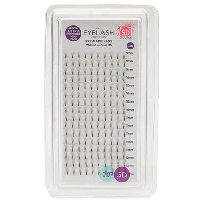 Eyelash Emporium 5D C Curls Pre-Made Fans 0.07 Mixed Lengths (9mm, 10mm, 11mm, 12mm)