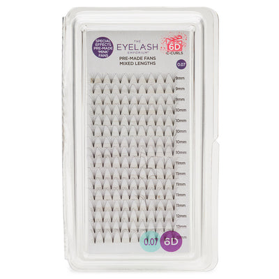 Eyelash Emporium 6D C Curls Pre-Made Fans 0.07 Mixed Lengths (9mm, 10mm, 11mm, 12mm)
