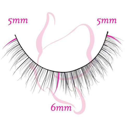 Flutter Lashes - Brittany (Lower Lashes) - Single Lash with Measurements