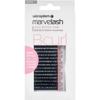 Marvelash B Curl Lashes 0.07 Extra Fine Mink Style, Assorted Length (8, 9, 10, 11, 12mm)