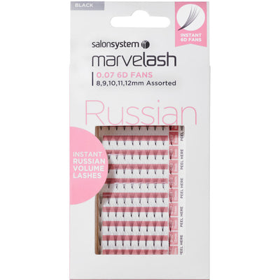 Marvelash Russian Volume Lashes 0.07 6D Fans, Assorted Length (8, 9, 10, 11, 12mm)