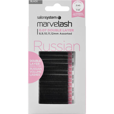 Marvelash Russian Volume Lashes 0.07 Double Layer, Assorted Length (8, 9, 10, 11, 12mm)
