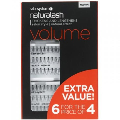 Salon System Individual Lashes Black Medium - 6 for 4 EXTRA VALUE PACK