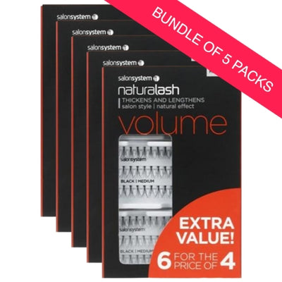 Salon System Individual Lashes Black Medium 6 for 4 EXTRA VALUE PACK (BUNDLE OF 5)