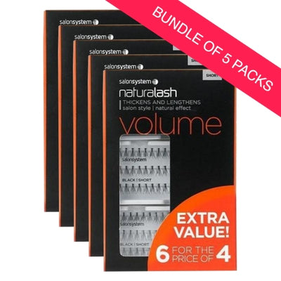 Salon System Individual Lashes Black Short 6 for 4 EXTRA VALUE PACK (BUNDLE OF 5)