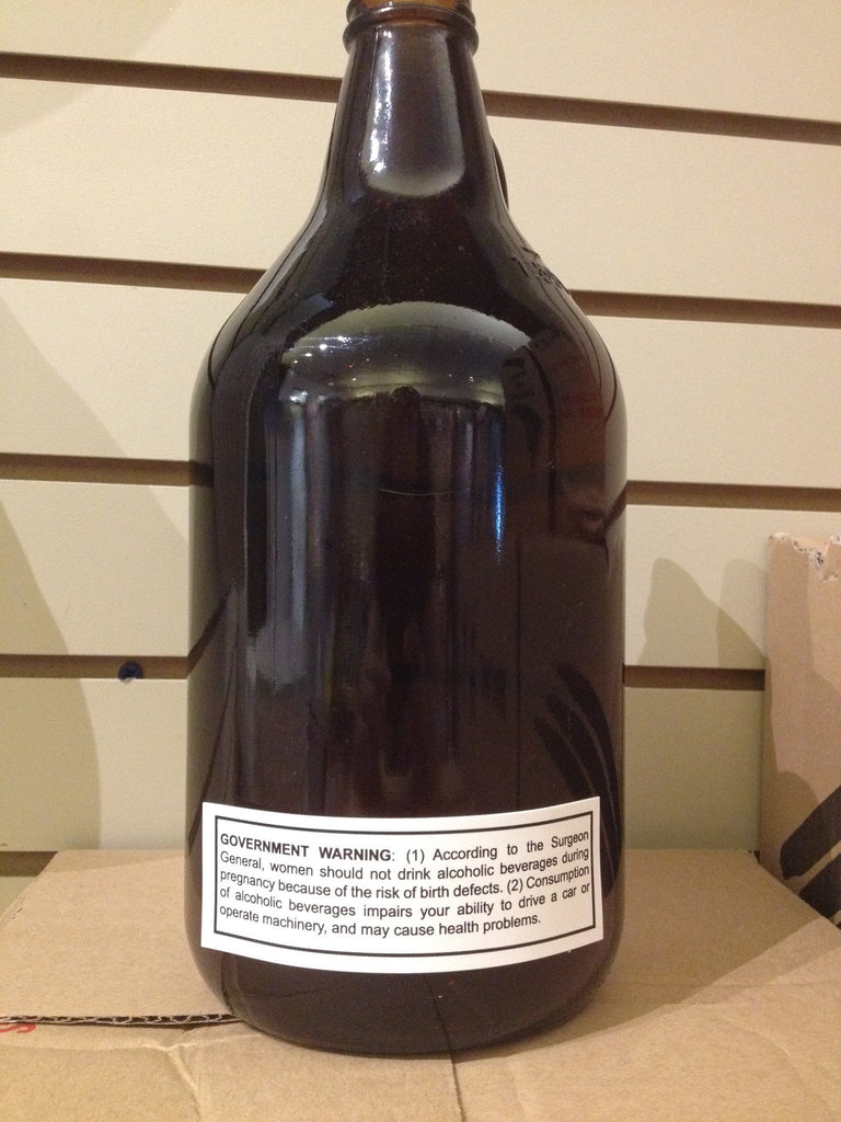 Surgeon General Alcohol Warning Sticker For Growlers