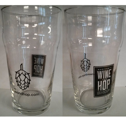 Wine and Hop Shop Pint Glass, 16 oz