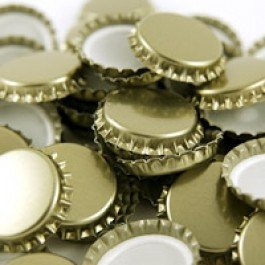 Bottle Caps And Cappers - Crown Caps, Gold, 29mm, 100 Count