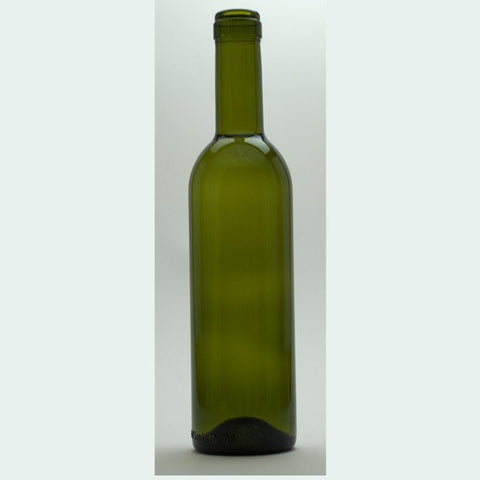 375mL Green Semi-Bordeaux Bottles, Mid-Punt, 24/Case