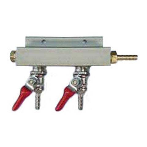 "Air Distributor 1/4"" Barb Inlet to 1/4"" Barbs w/ 2 Shutoffs & Check Valves - Aluminum"