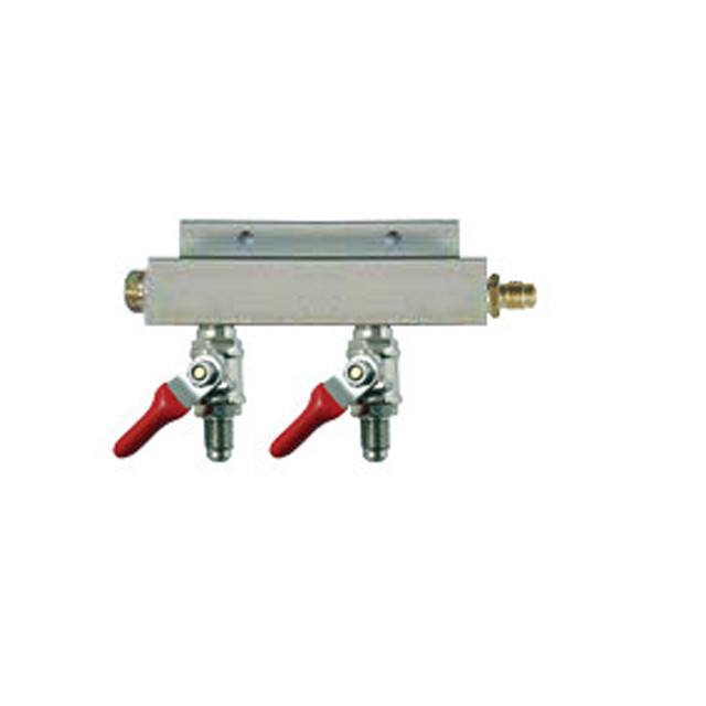 "Keg And Draft Supplies - Air Distributor 1/4"" MFL Inlet To 1/4"" MFL Outlets W/ 2 Shutoffs & Check Valves - Aluminum"