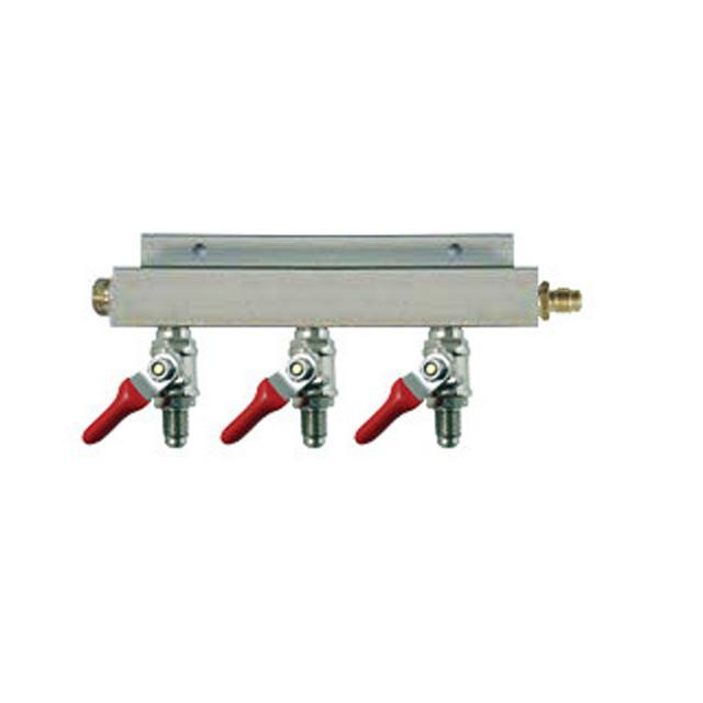 "Keg And Draft Supplies - Air Distributor 1/4"" MFL Inlet To 1/4"" MFL Outlets W/ 3 Shutoffs & Check Valves - Aluminum"