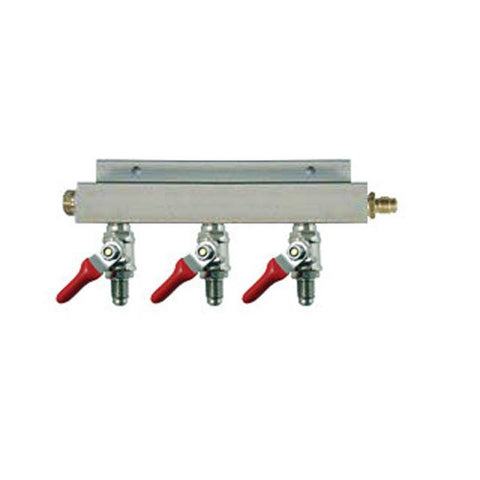 "Air Distributor 1/4"" MFL Inlet to 1/4"" MFL Outlets w/ 3 Shutoffs & Check Valves - Aluminum"