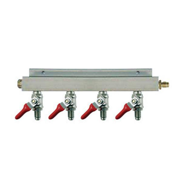 "Keg And Draft Supplies - Air Distributor 1/4"" MFL Inlet To 1/4"" MFL Outlets W/ 4 Shutoffs & Check Valves - Aluminum"