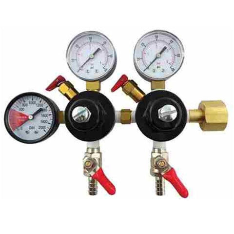"CO2 Regulator w/2 low pressure, 1 high pressure gauge, 5/16"" Barb"