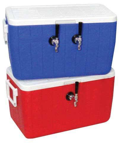 Keg And Draft Supplies - Draft Box W/ 2 Faucets, 50 Ft SS Coils, Red