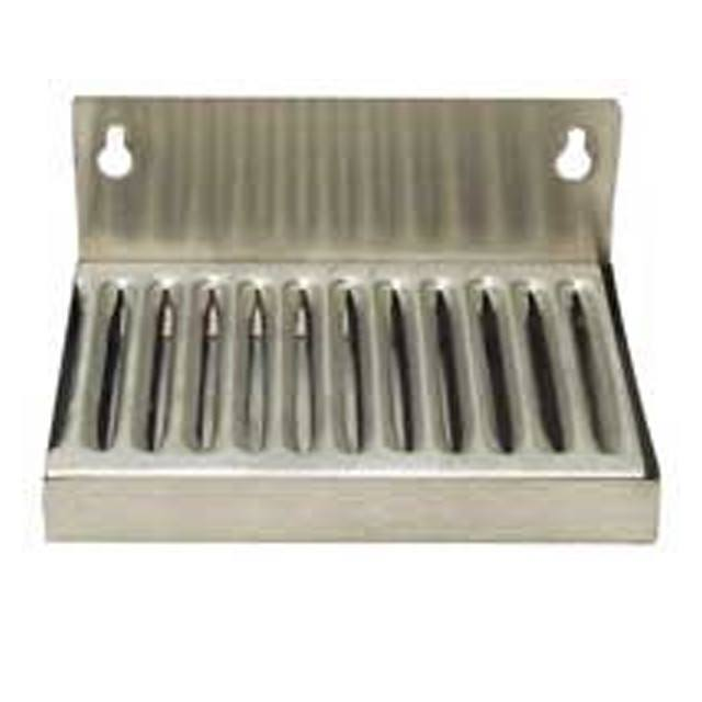 "Keg And Draft Supplies - Drip Tray, Wall Mounted, 6"" Long With Drain Pipe, Stainless Steel"