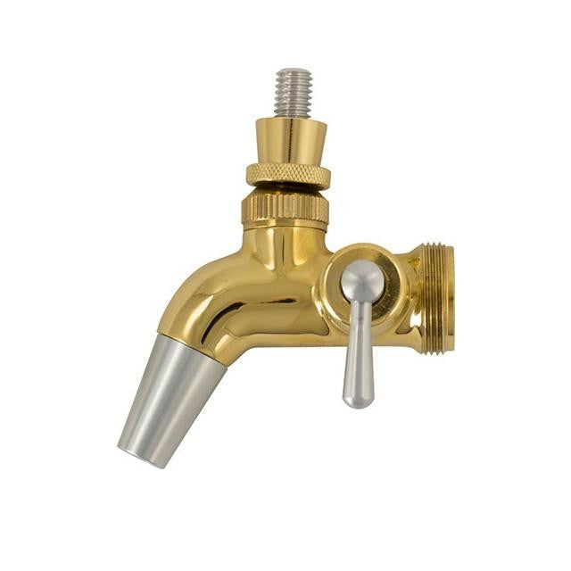 Keg And Draft Supplies - Forward Sealing Faucet W/ Flow Control (Gold Plated - Intertap)