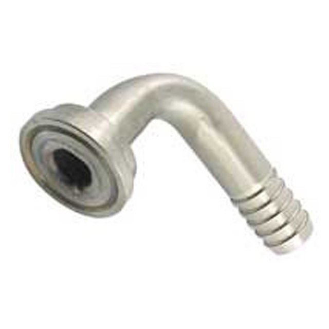 "Keg And Draft Supplies - Tail Piece - 1/4"" Barb With 90 Degree Elbow - Stainless Steel"