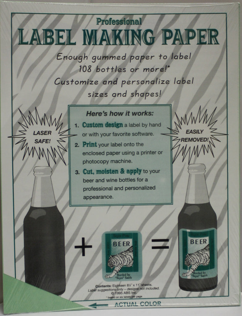 Labels, Shrink Caps, Assorted Bottling - Label Making Paper - Green - Pack Of 18