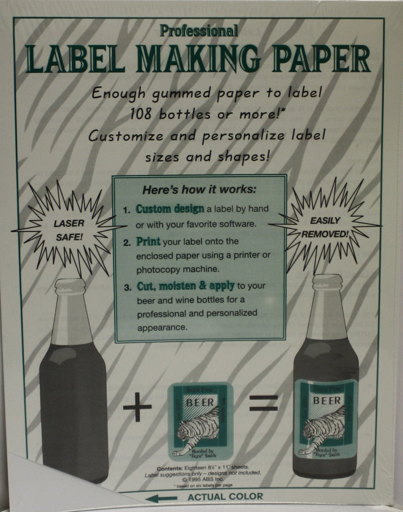 Labels, Shrink Caps, Assorted Bottling - Label Making Paper - White - Pack Of 18