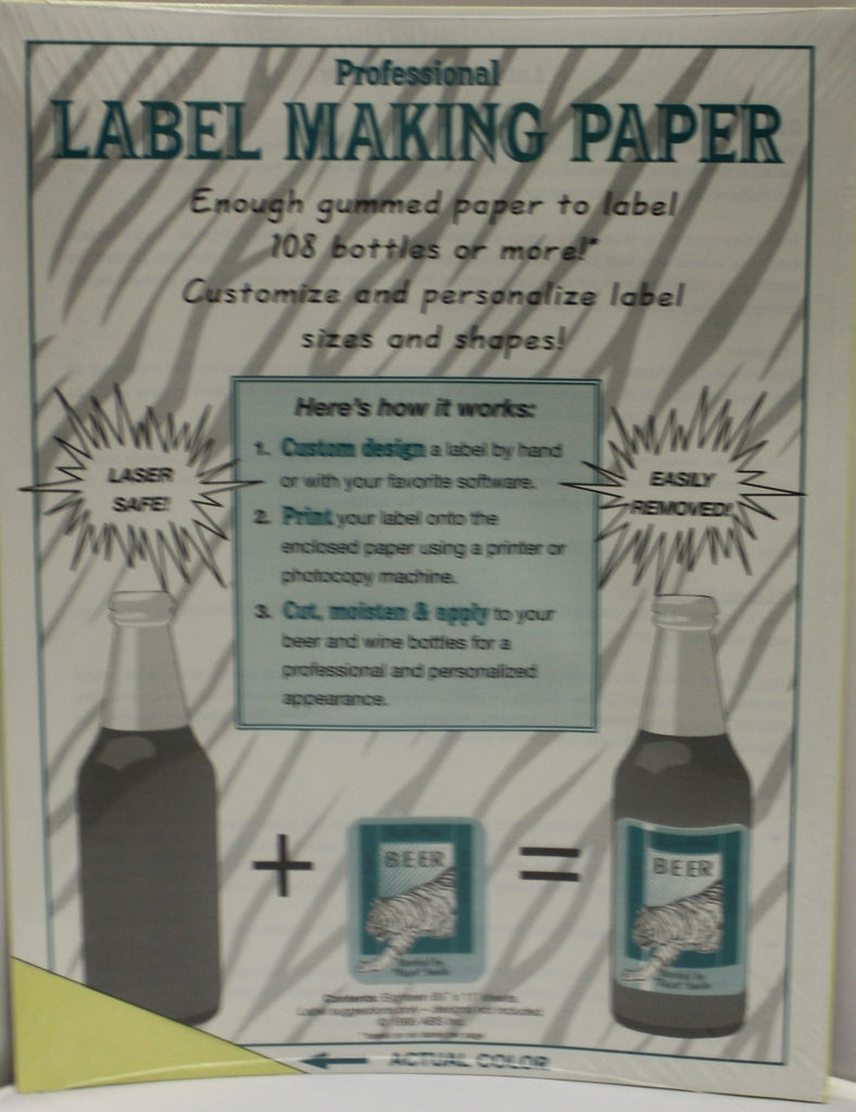 Labels, Shrink Caps, Assorted Bottling - Label Making Paper - Yellow - Pack Of 18