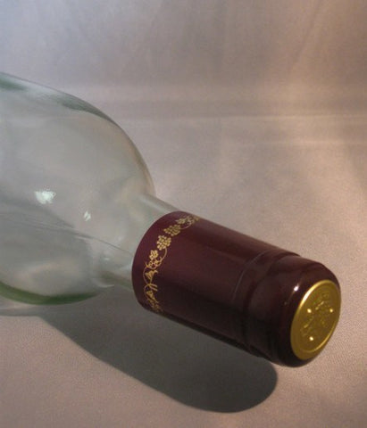PVC Shrink Caps, Burgundy with Gold Grapes, Bag of 30
