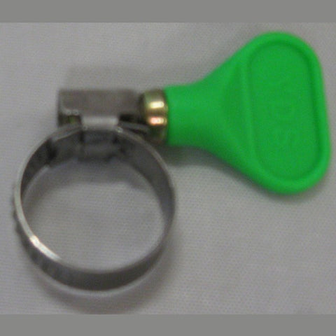 "Hose Clamp for 3/4"" OD Tubing, Easy Turn, Green Handle"