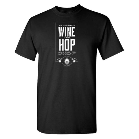 Wine and Hop Shop T-Shirt - Black and White w/ Hop Logo
