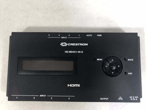 Crestron HD-MD4X1-4K-E 4K HDMI Switcher w/ power supply - Surplus Crestron